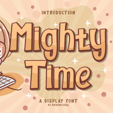 Mighty Time Block Font Example.