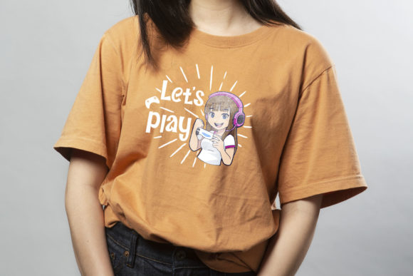 Terracotta T-shirt with a picture of a girl wearing headphones.