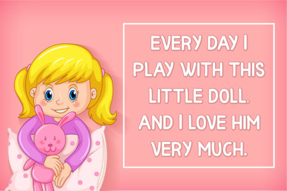 Pink background with a little blonde girl with a pillow.