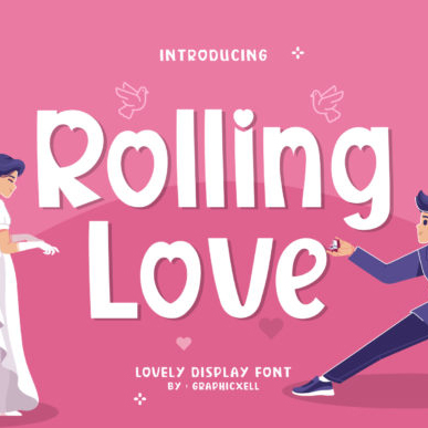 Rolling Love Athletic Font Example.