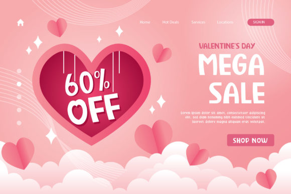Valentine's Day promotional poster with different font sizes.