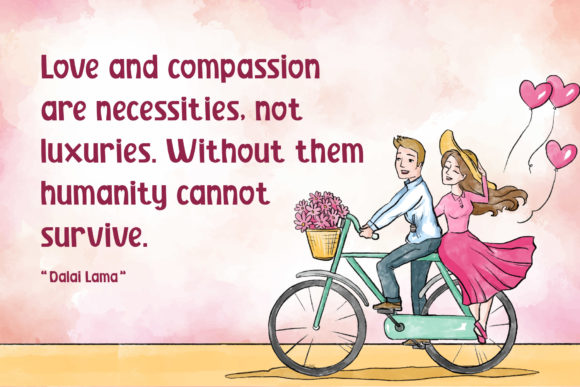 A romantic card with a couple in love on a bicycle and a verse is written next to it.