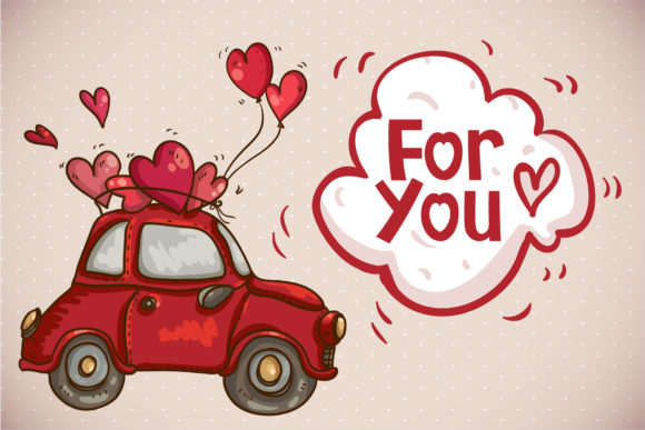 Small red car with heart-shaped balloons and inscriptions.