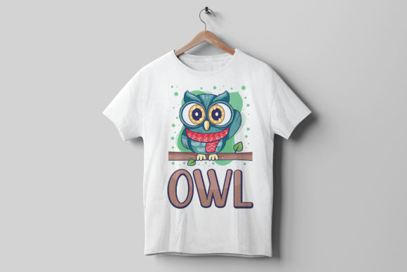 White T-shirt with a colorful owl.
