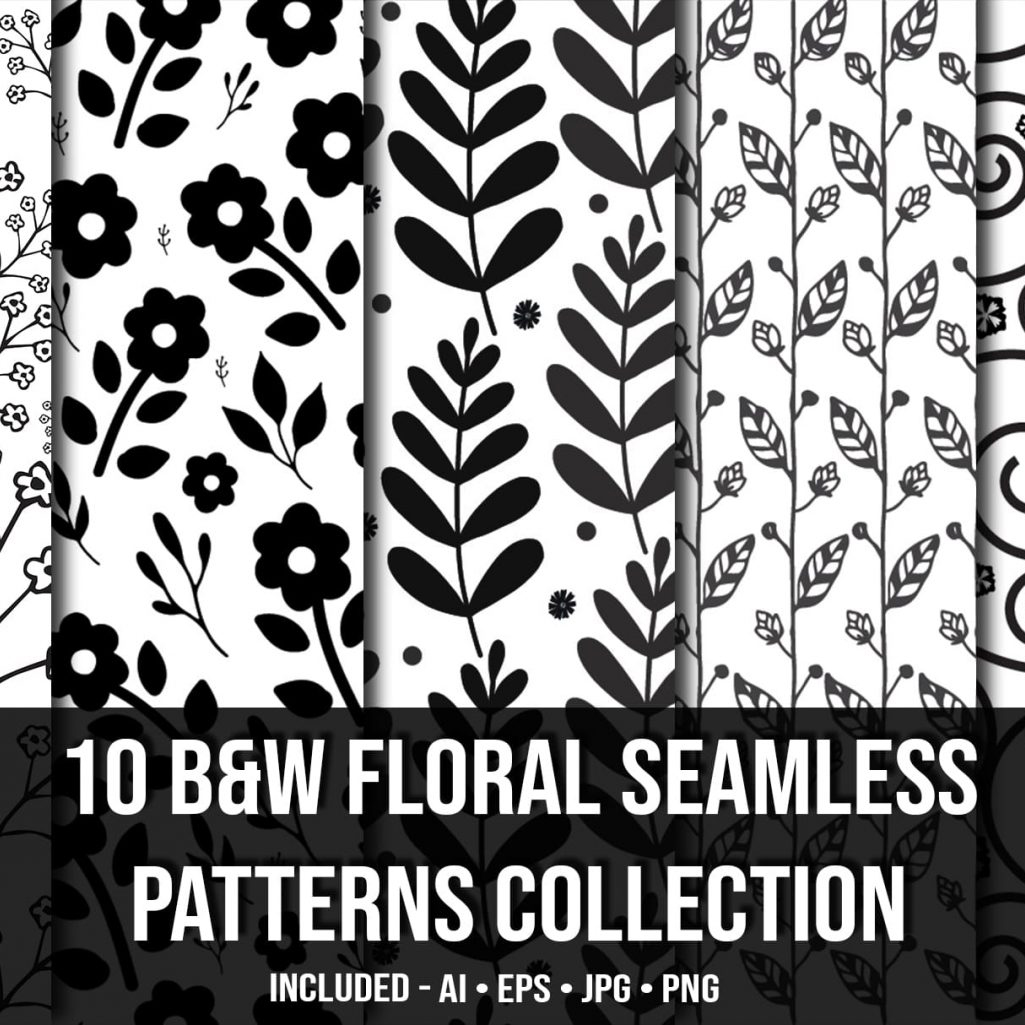 10+ Black & White Floral Seamless Patterns Collection
