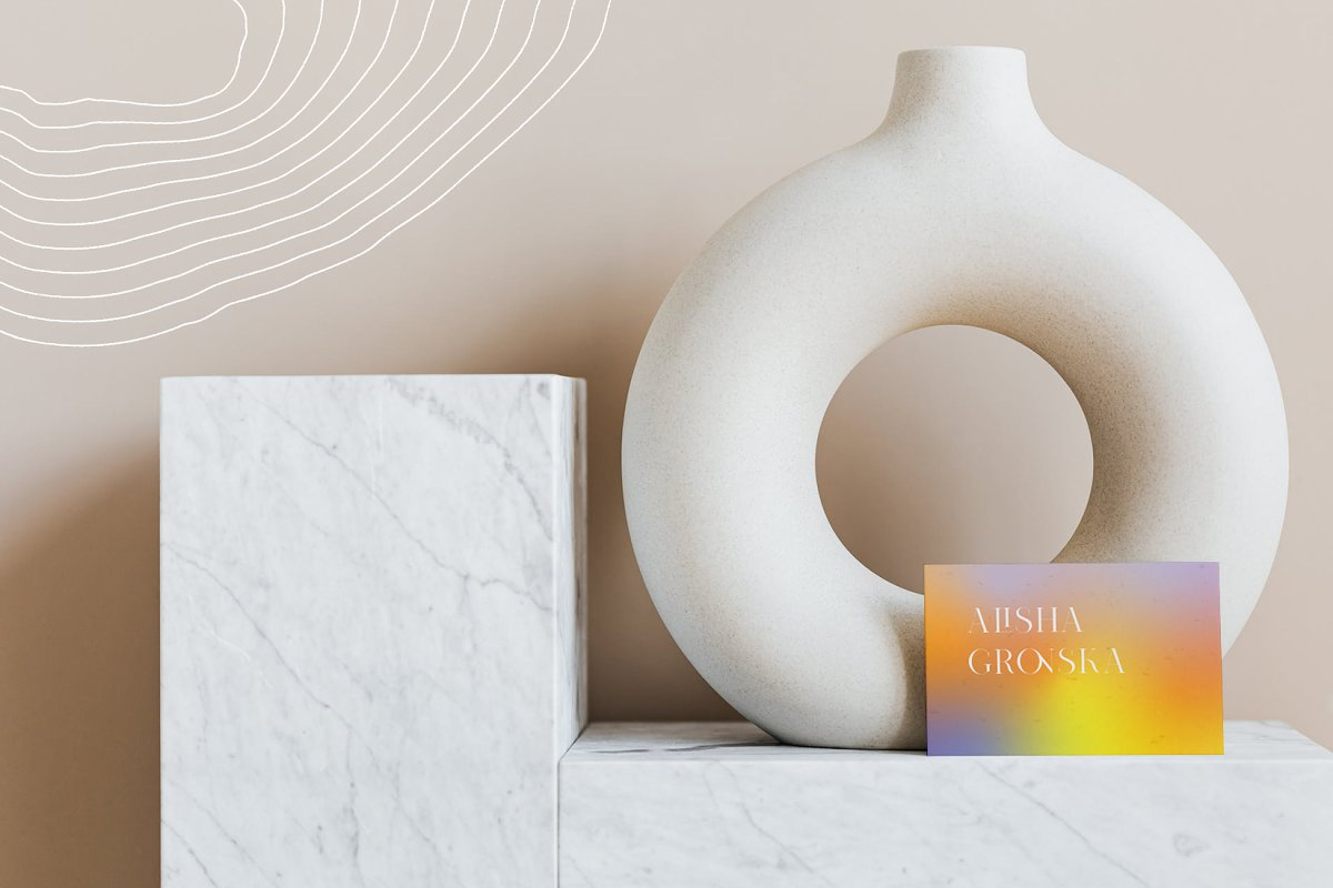 Stylish interior and a small business card with a yellow gradient.