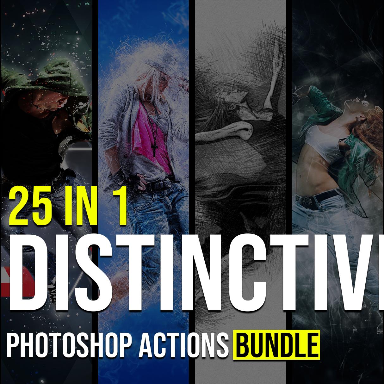25 in 1 Distinctive Photoshop Actions Bundle example.