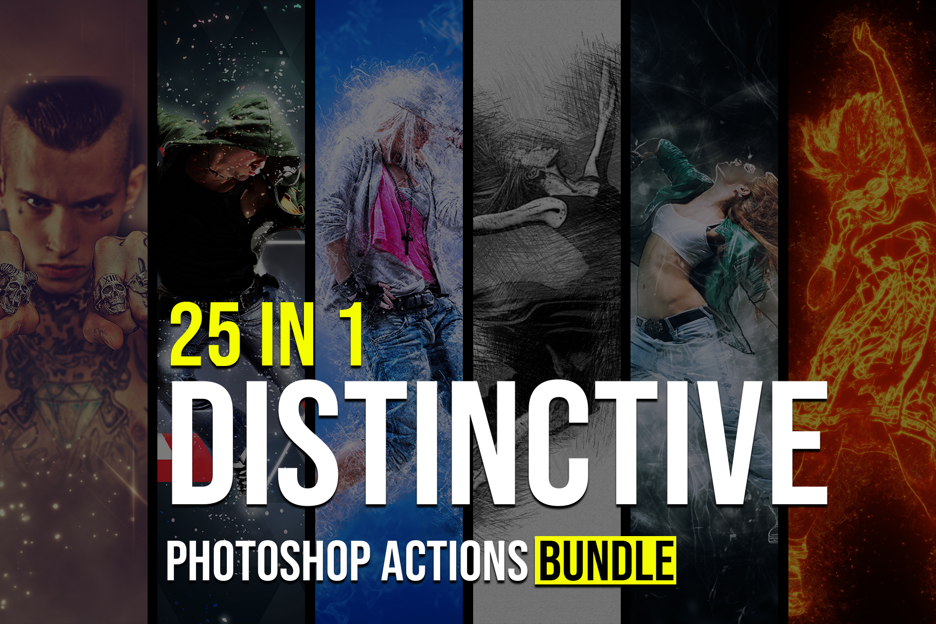 Cover image.Distinctive Photoshop Actions Bundle.