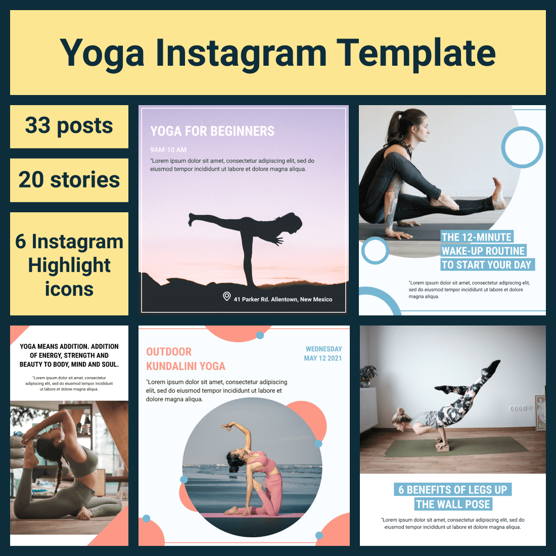 Yoga Instagram Templates. Main Cover Image.