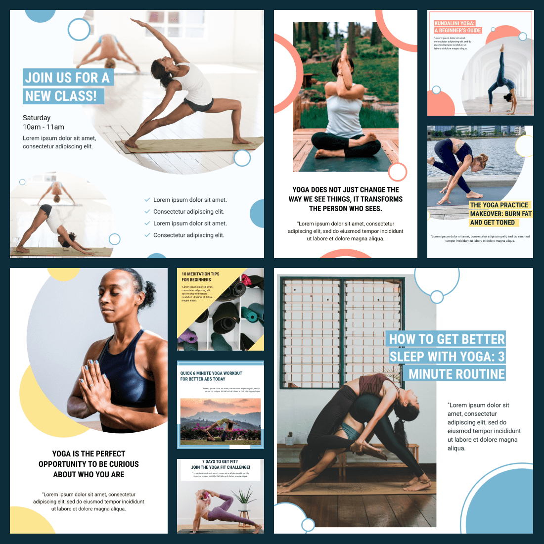 Cover image. Yoga Instagram Templates.