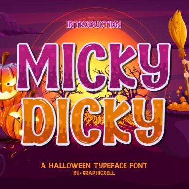 Micky Dicky Batman Font Example.