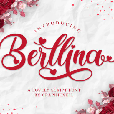 Berllina Love Sculpture Font Example.