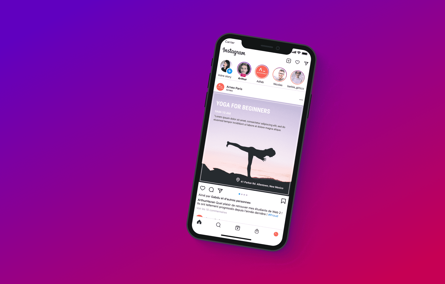 A device with yoga page. Yoga Instagram Templates.