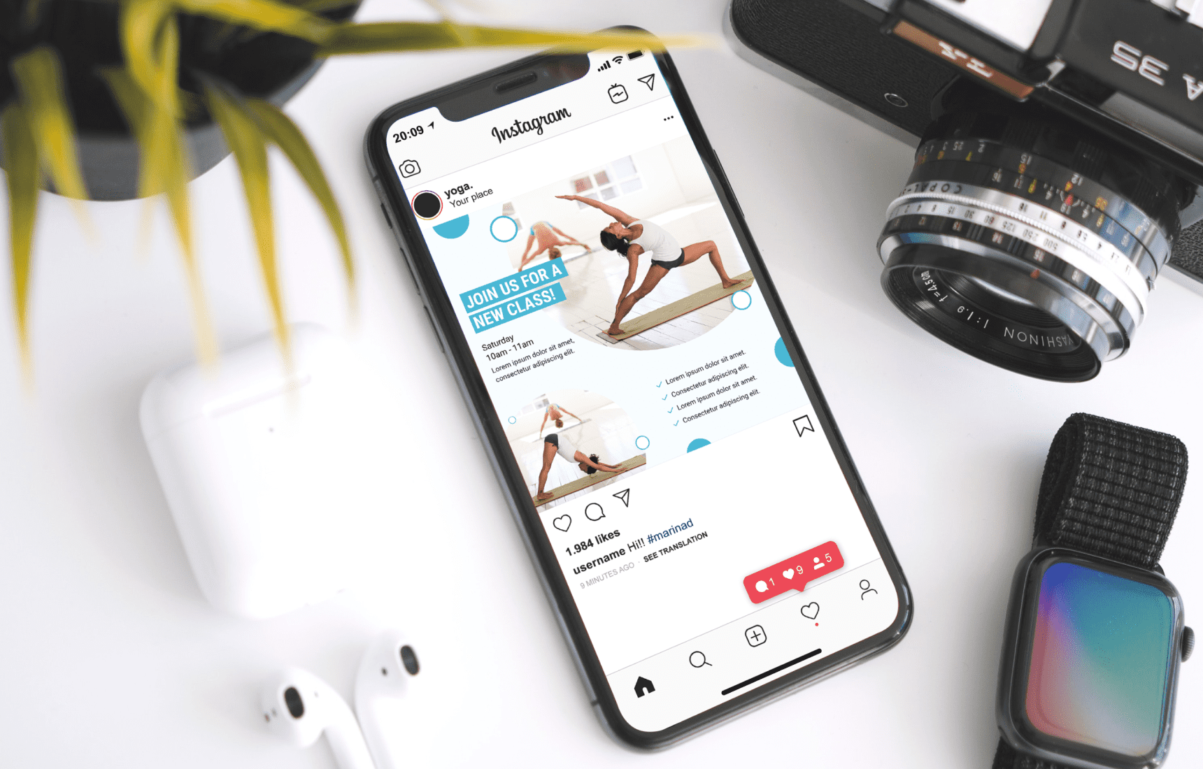 A device with yoga application. Yoga Instagram Templates.