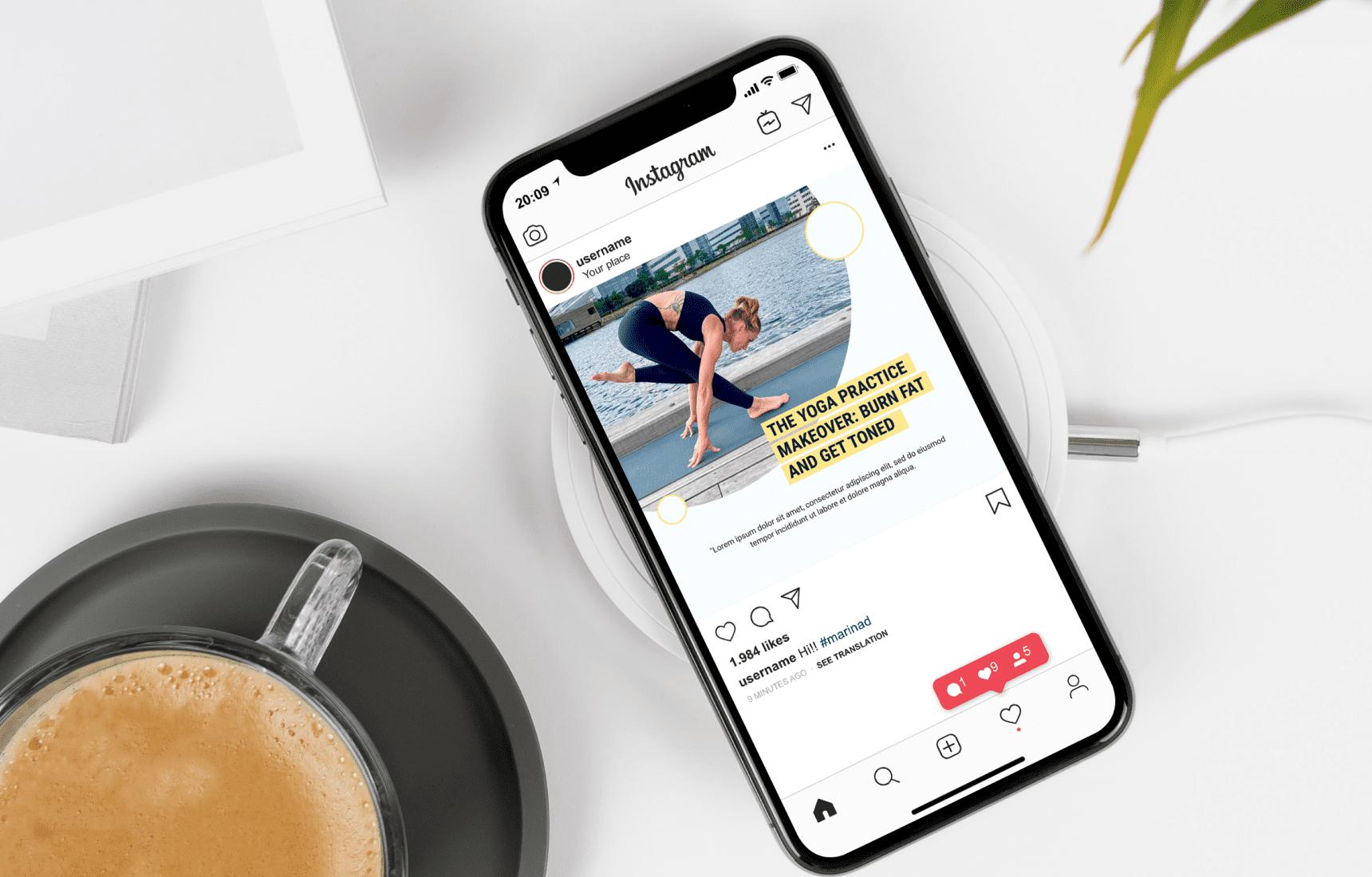 Yoga phone. Yoga Instagram Templates.