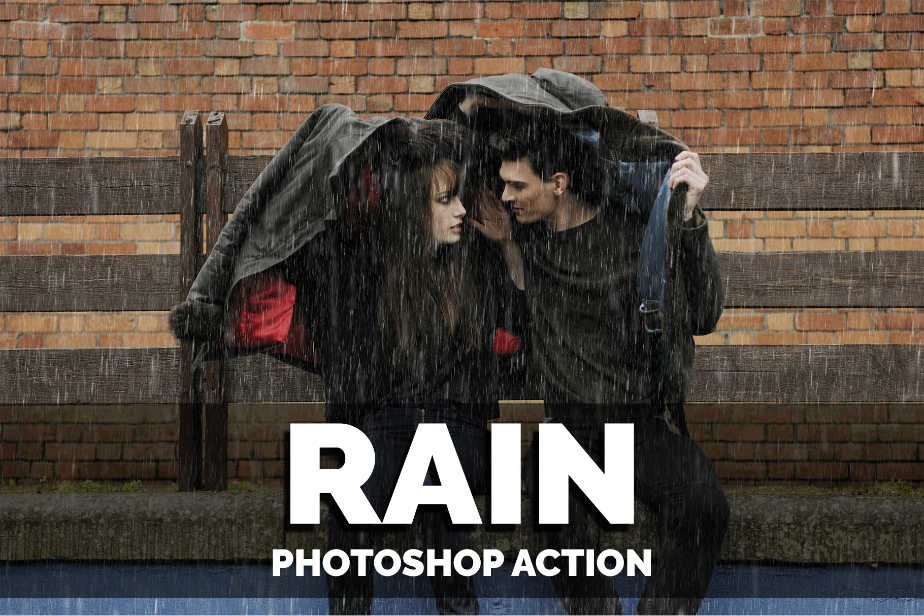 A girl and a guy are hiding from the rain under one jacket.