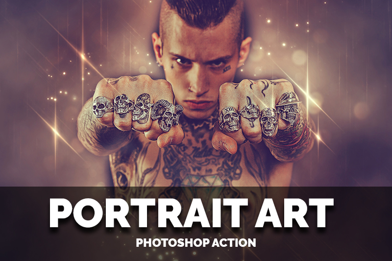 A guy whose body is covered in tattoos and skull rings.
