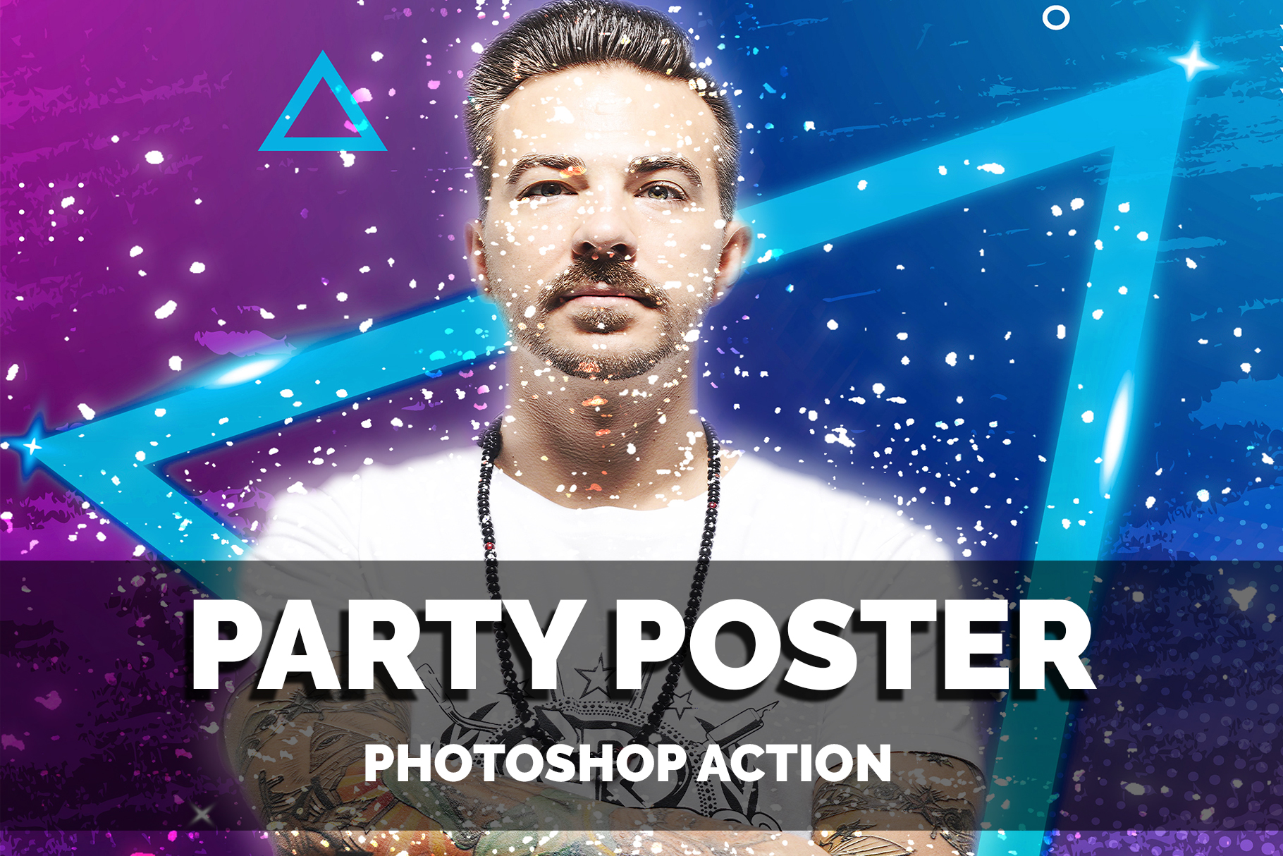 A guy with a tattoo on his arm, against which bright colors.Distinctive Photoshop Actions Bundle.