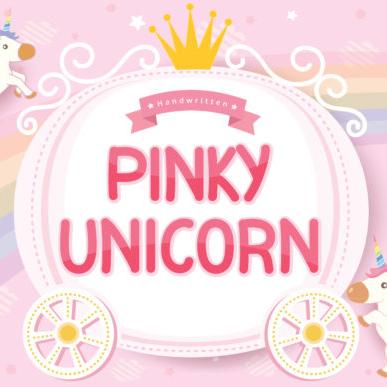 Pinky Unicorn Calligraphy Font Example.