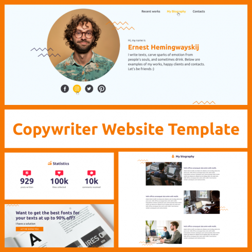Copywriter Website Template Blogspot cover.
