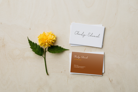 One flower and love cards. Monoline Script Font.