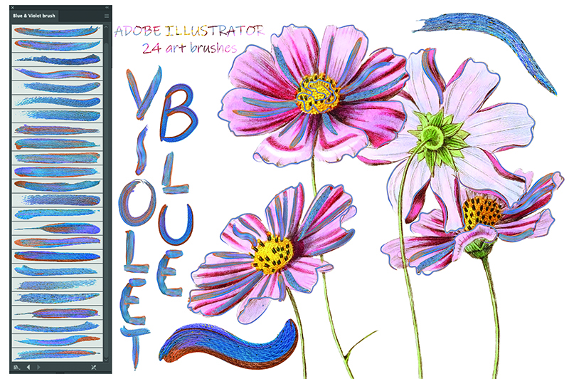 Smears of blue, a pinch of purple and minimal pink created the scent of wildflowers and leaves.
