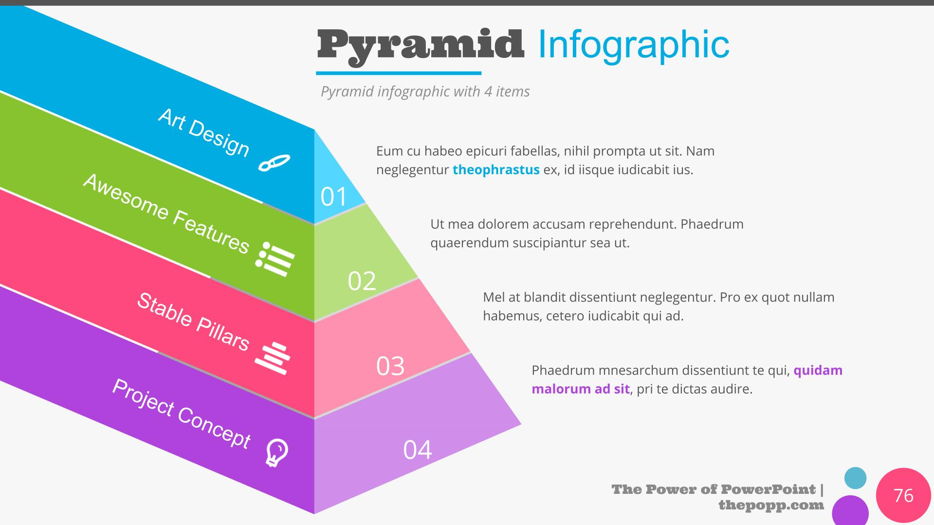 Multi-colored infographics in the form of a pyramid.