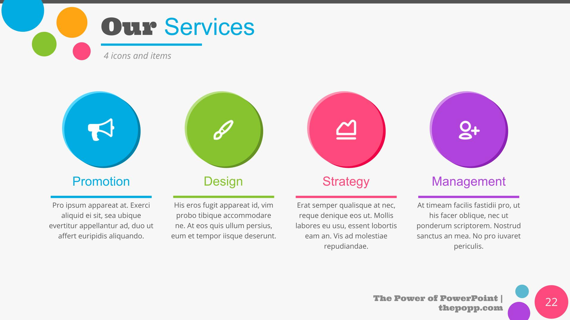 Description of services through infographics.