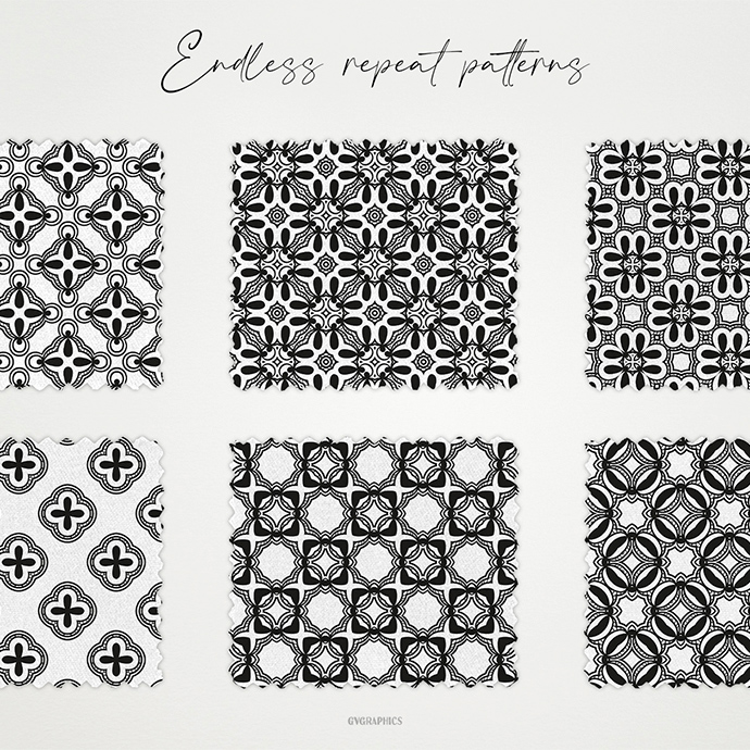 Black and White Ornaments Patterns Second cover image.