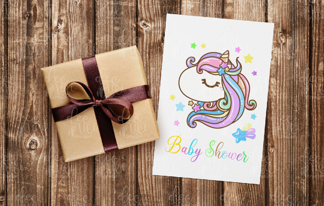 Card with little unicorn.