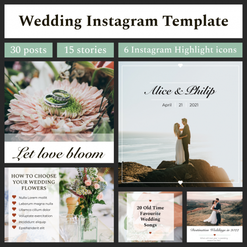 Wedding Instagram Template: 30 Posts, 15 Stories + 6 Instagram Highlight Icons