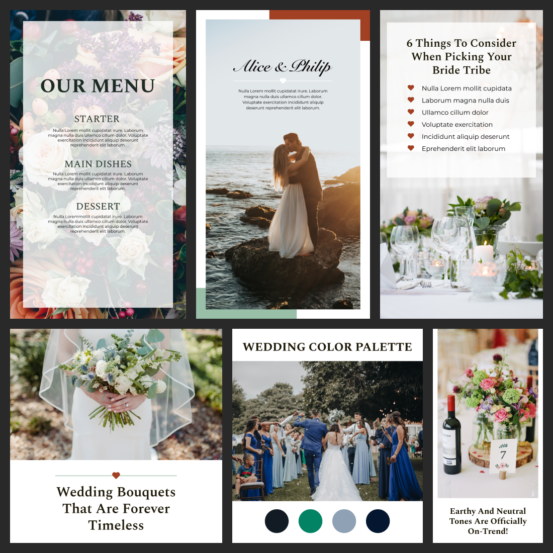 Wedding Instagram Template: 30 Posts, 15 Stories + 6 Instagram Highlight Icons Cover.