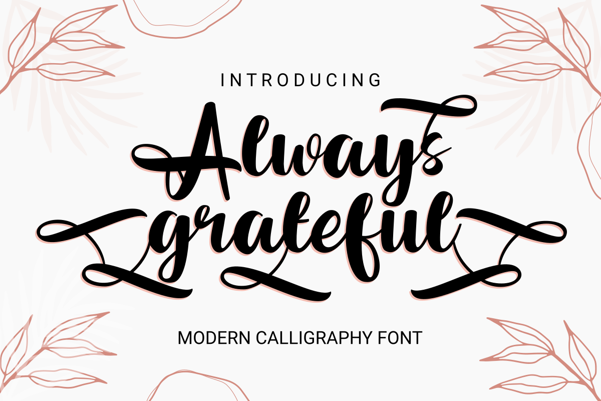 Always Grateful Wedding Calligraphy Font - title image as a card.