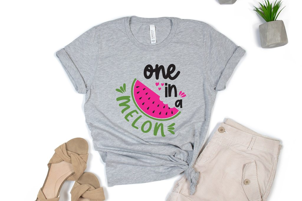 Gray T-shirt with a slice of watermelon.