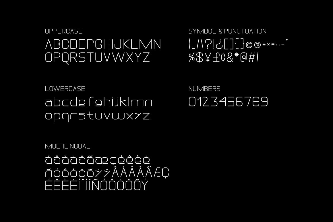 General image of the font on a black background.