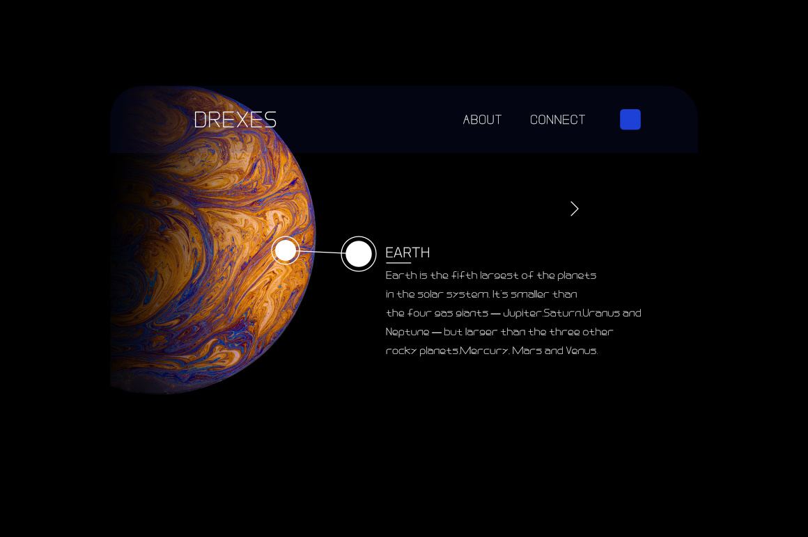 Black background and colorful planet with explanations of what and how.
