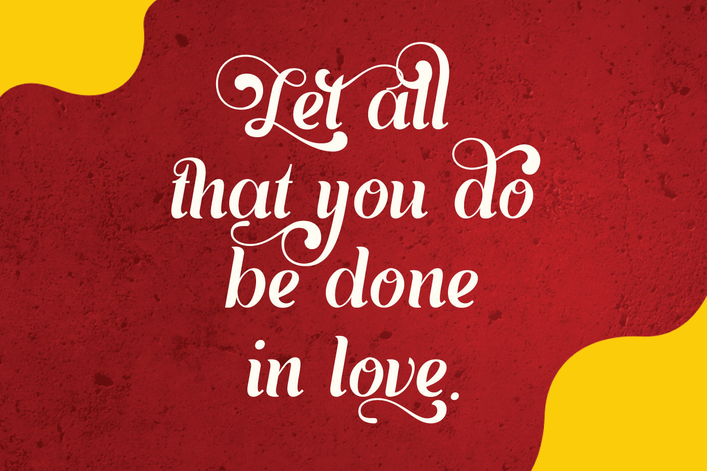 open Red background with yellow spots and white font.
