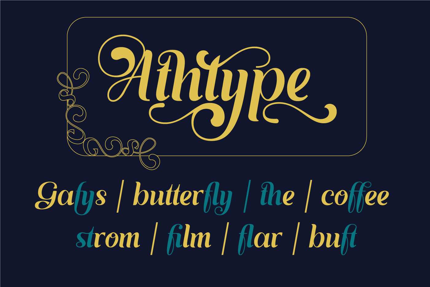Dark blue background and gold font.