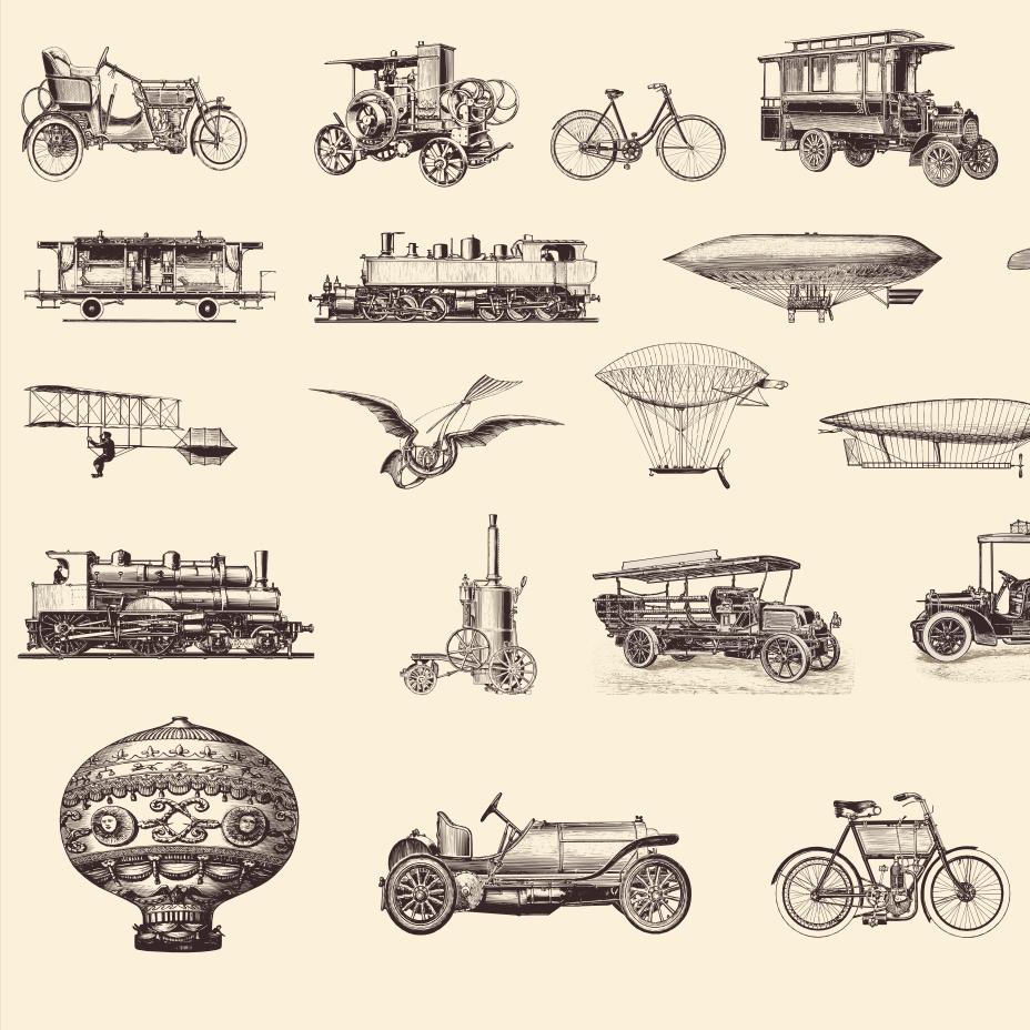 22 Engraving Illustrations: Transportation & Vintage Vehicles Vectors