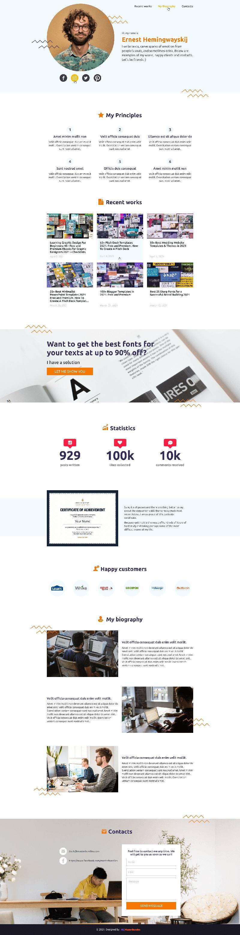 Copywriter Website Template Blogspot Preview.