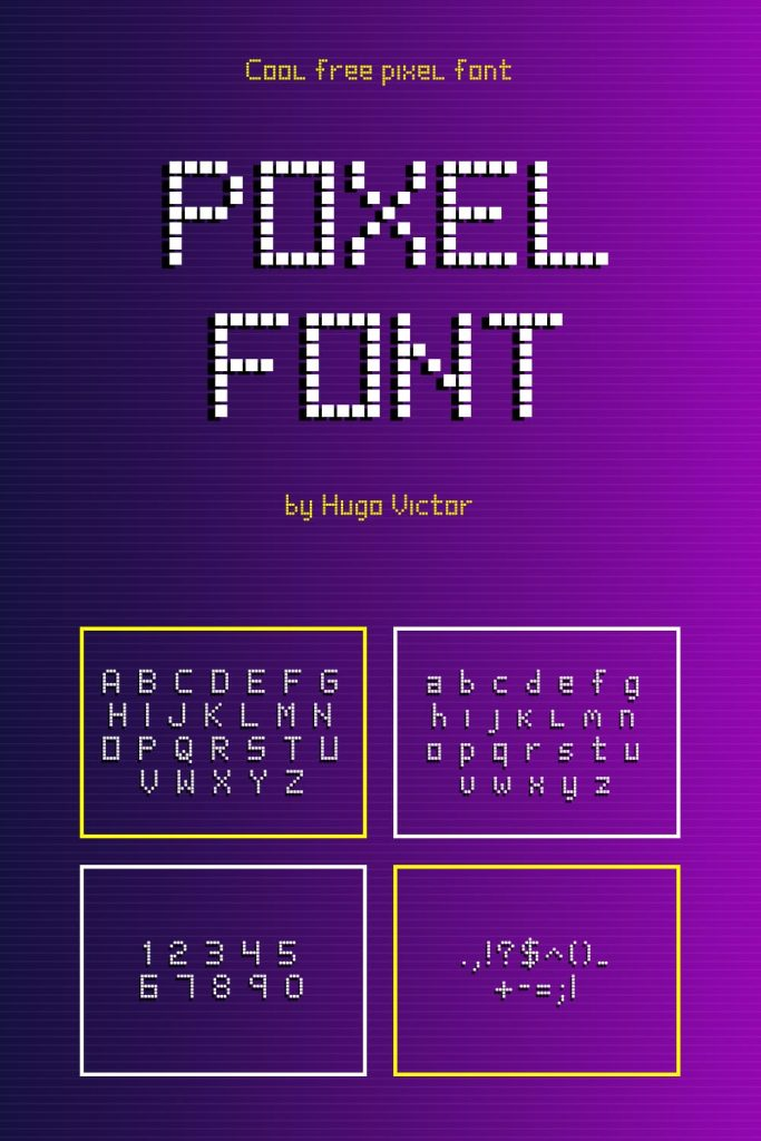 Free pixel font alphabet example.