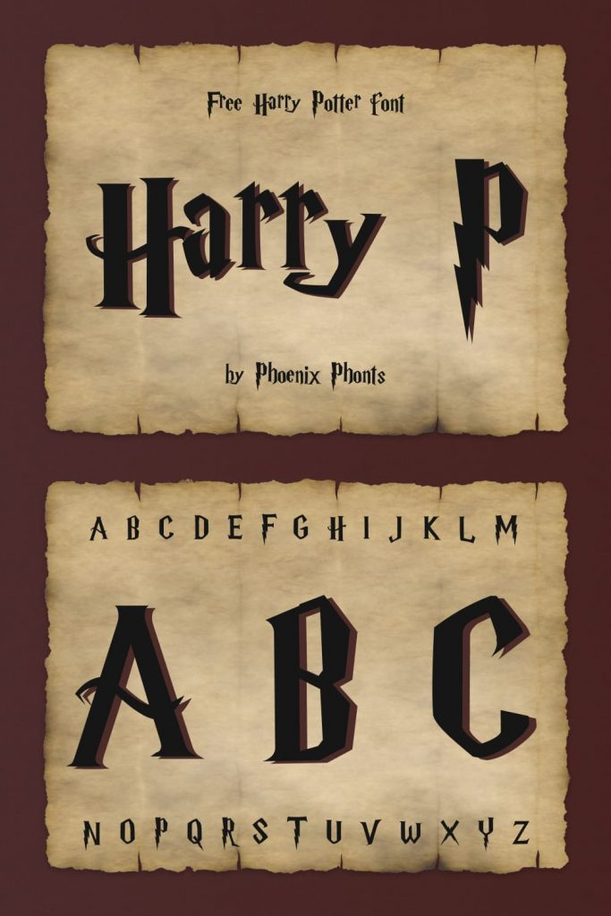 Free harry potter font image preview.