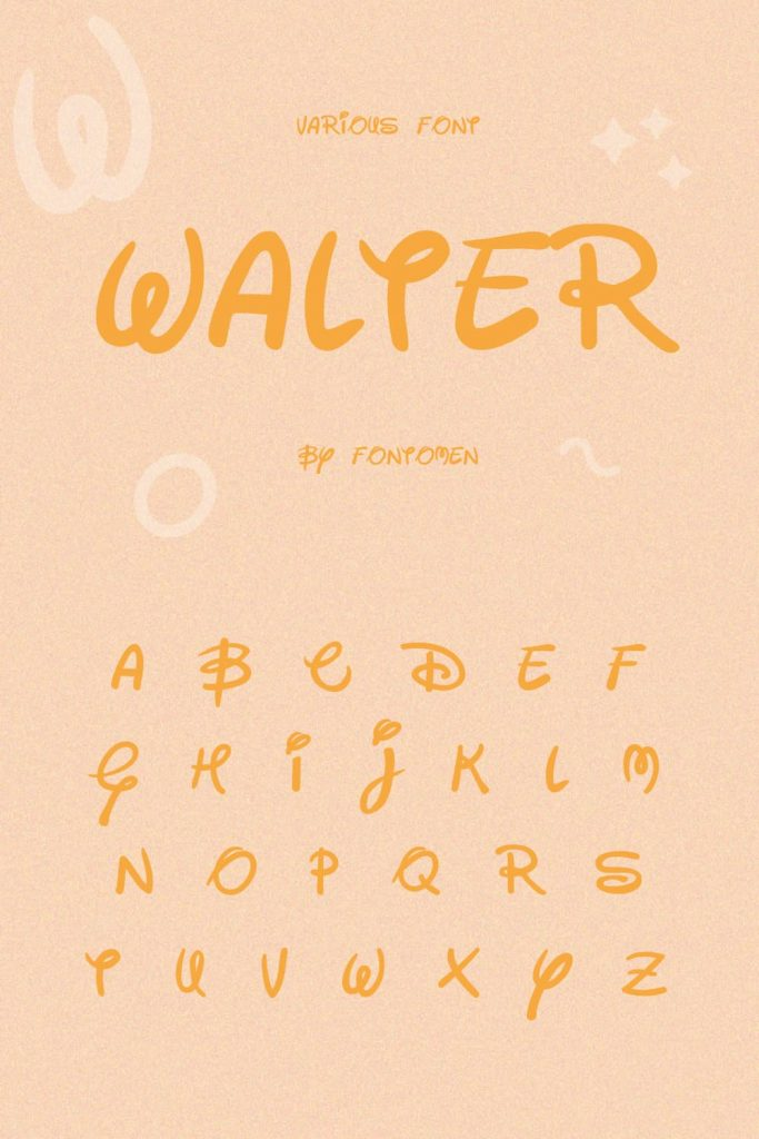 Alphabet presentation with free disney font.