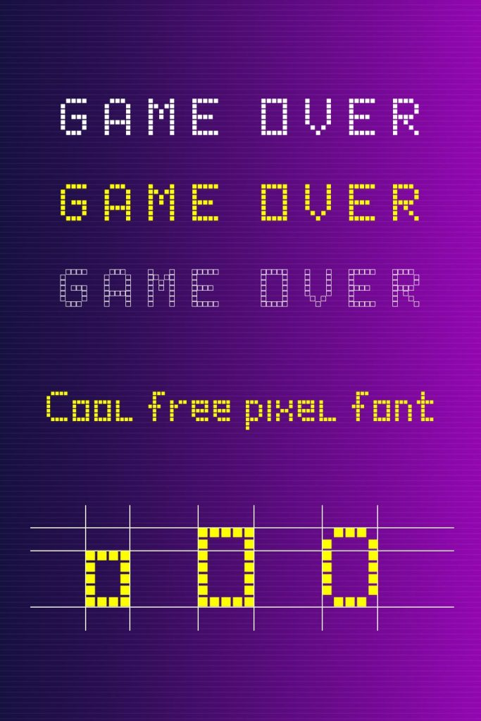 Game over Free pixel font example.