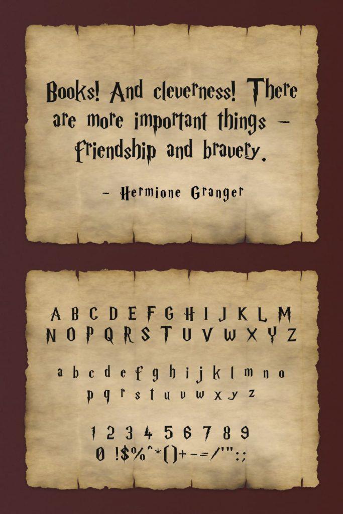Example Alphabet Free harry potter font.