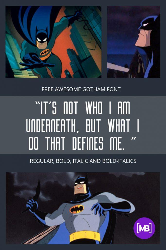 Free gotham font for Batman comic.
