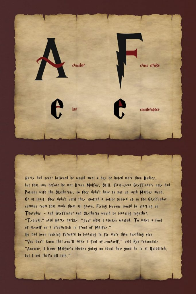 Harry Potter font free preview for Pinterest.