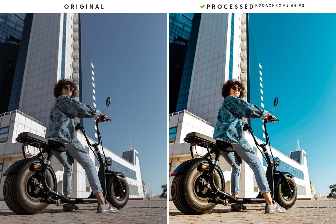 Young girl on a motorcycle in a big city.