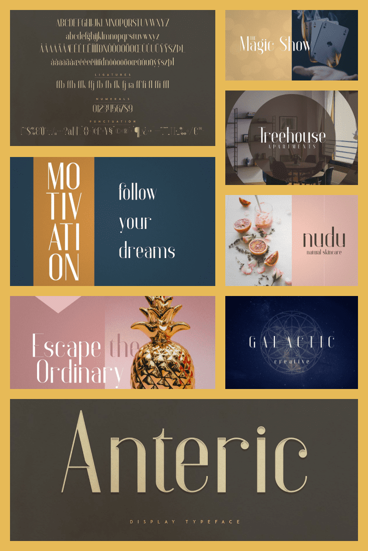 Anteric College Font - MasterBundles - Pinterest Collage Image.
