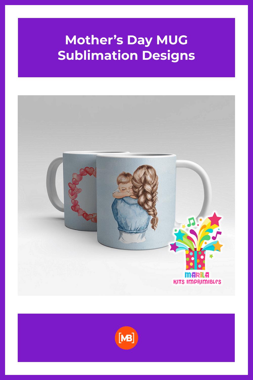 Mother's Day MUG Sublimation Designs - MasterBundles - Pinterest Collage Image.
